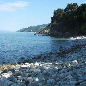 Steinstrand mit türkisfarbenem Wasser