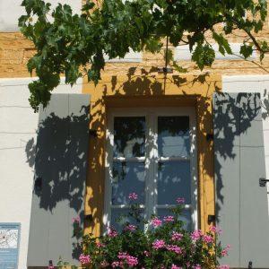 Wein und Geranien bewachsenes Fenster