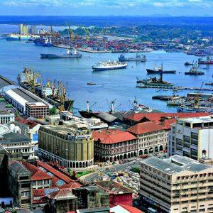Blick auf den Hafen von Colombo