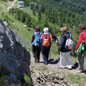 Eine tour de sens Wandergruppe (von hinten) steigt vom Gipfel des Panarotta ab