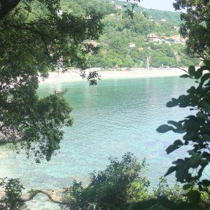 Die Bucht von Agios Ionnis mit Eichen- und Feigenbäumen