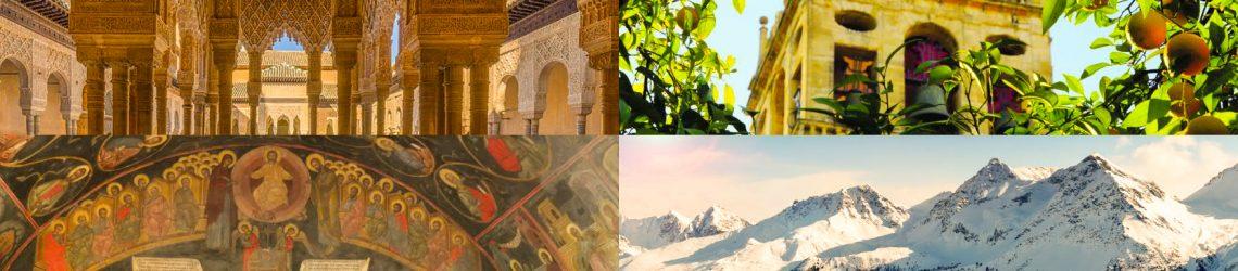 Eine Foto-Collage aus maurischen Bauwerk, Glockenturm hinter Orangenbaum, bulgarische Ikonen und Schneeberge