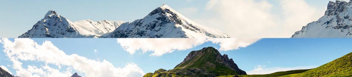 Foto-Collage aus verschneitem und grünem Berggipfel