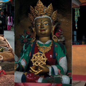 Marktszene, Buddha-Figur und Mönch in Kalimpong