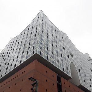 Fassaden-Teilansicht der Elbphilharmonie