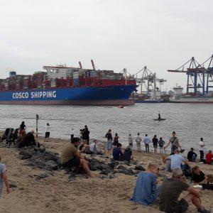 Menschen genießen den Sommer am Elbstrand und blicken auf ein vorbei fahrendes Container-Schiff