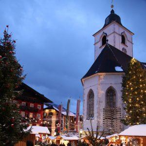 Die Kirche von St. Wolfgang im Winter