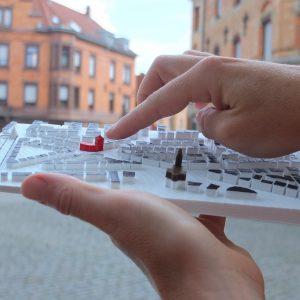 Ein portables Tastmodell des Stuttgarer Stadtteils Ost