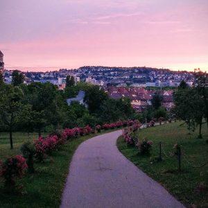 Vila Berg Park im Abendlicht