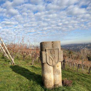 Sandsteinsockel mit Wappen im Weinberg