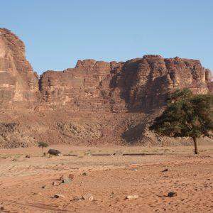 Die roten Sandsteinfelsen von Wadi-Rum